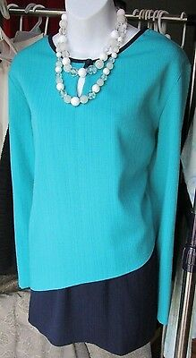 Teal Green & Navy Blue Asymmetrical Blouse Long Sleeve Round Neck Size XL