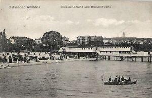 10830-Foto-AK-Ostseebad-Ahlbeck-Blick-auf-Strand-und-Bismarckwarte-1911
