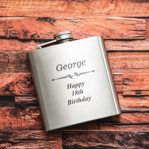 Personalised Engraved 6oz Hip Flask men/'s women/'s gift wedding birthday
