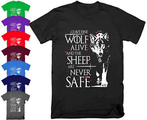 Mens-LEAVE-ONE-WOLF-ALIVE-T-Shirt-Top-Arya-Stark-Game-of-Thrones-Gift-S-5XL
