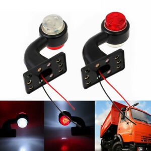 2X-12V-6LED-Elbow-Side-Marker-Lights-Rubber-Lamp-Outline-Trailer-Truck-Van-Lorry