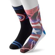 Captain America Marvel 75th Anniversary Collection 2 Pairs Men's Crew Socks