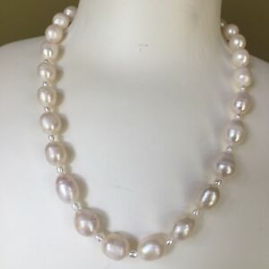 Huge-Natural-White-10-5-13mm-Huge-Freshwater-Baroque-pearl-46cm-necklace-AB-02
