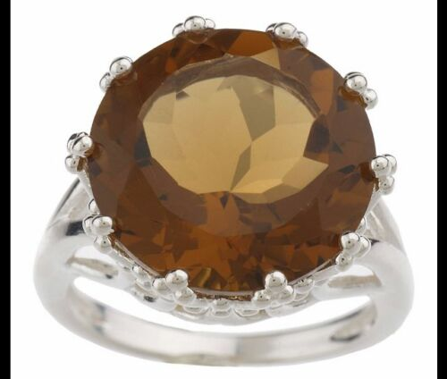 STERLING SILVER 9 CT ROUND WHISKEY QUARTZ CROWNED PRONG RING SIZE 10 QVC $75.00