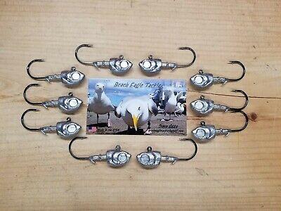 BUCKTAILS SWIMBAIT HEADS 10 PK 4//0 VMC HOOKS JIG HEADS HERRING HEAD JIG 1oz