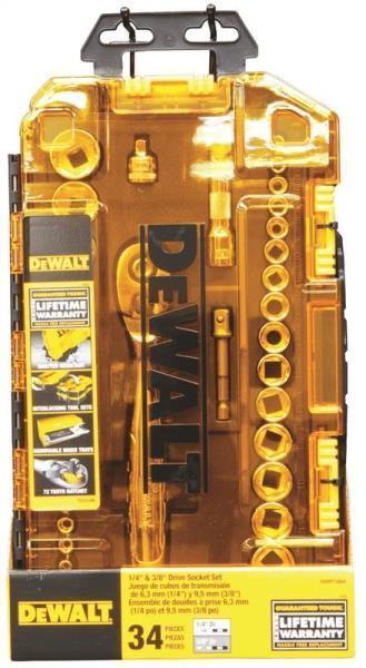 "NEW DEWALT DWMT73804 34 PIECE 1//4/"" /& 3//8/"" DRIVE SOCKET TOOL SET /& CASE 7515034"