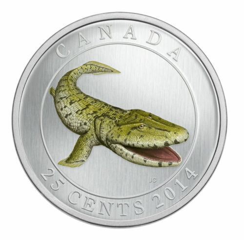 2014 Canada 25c Coin Prehistoric Creatures Coloured Tiktaalik Glow in the Dark