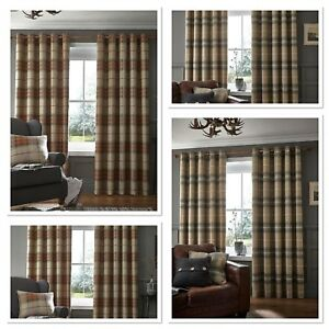 Catherine Lansfield Brushed Heritage/Highland Check Fully Lined Eyelet Curtains