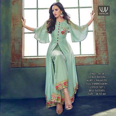 Women Indian Cotton Palazzo Kurta Bollywood Style Flared Kurta With Pent Dress