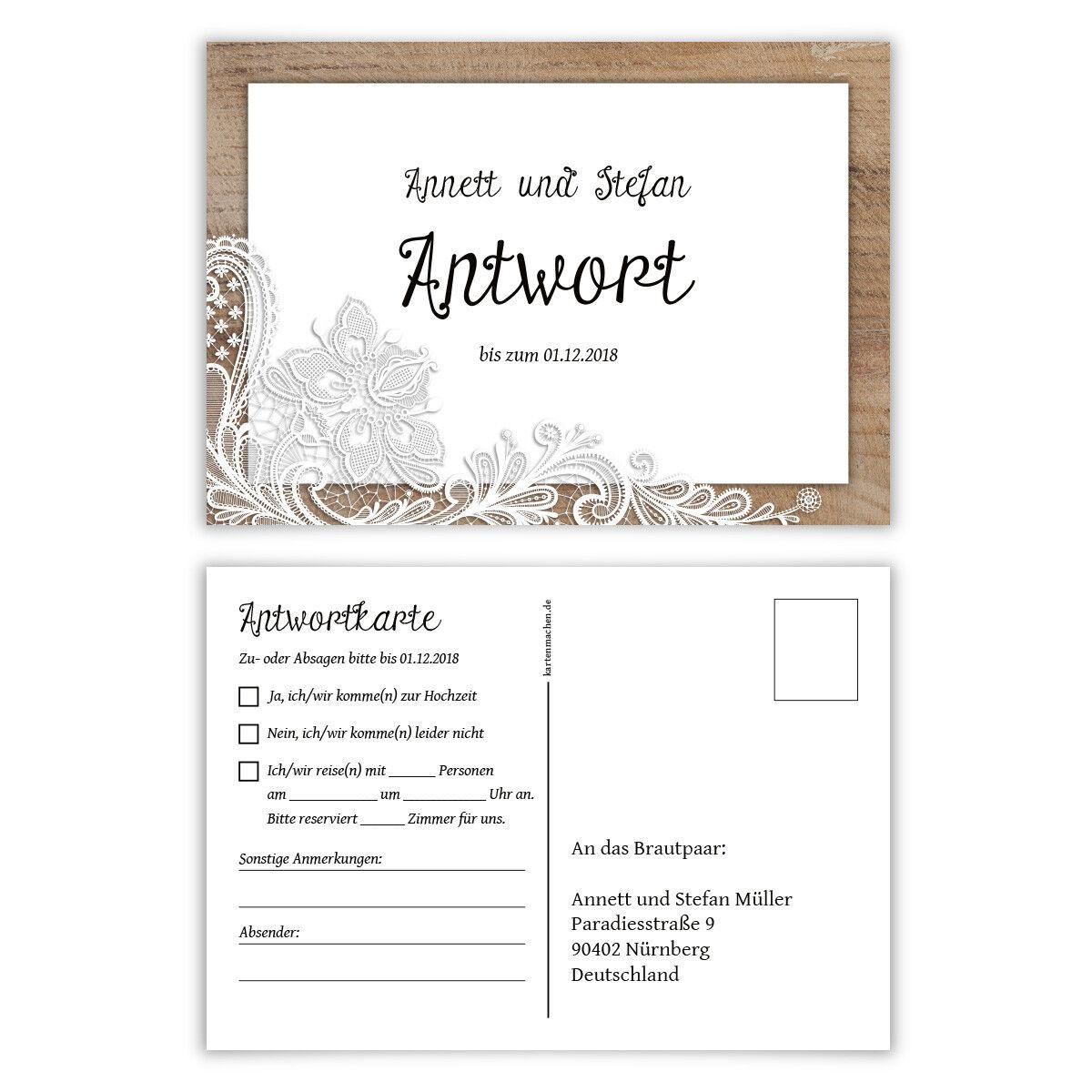 Antwortkarte Hochzeit Hochzeitskarten Antwort Postkarte Rustikal weiße Spitze | Züchtungen Eingeführt Werden Eine Nach Der Anderen  | Trendy