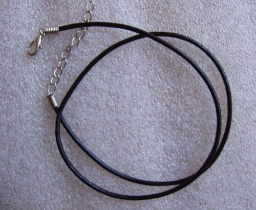 collier lanière de cuir véritable section de 2 mm noir ciré longueur 42cm+5