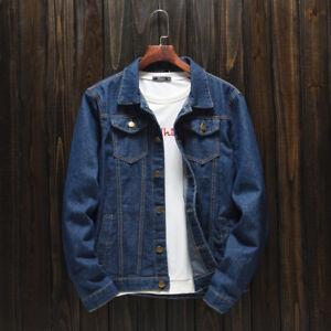 Herren Slim Schwarz Jeansjacke Slim Trend Denim Jacke Mode