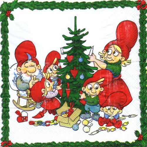 SERVIETTES EN PAPIER NOEL LUTINS NORVEGE.PAPER NAPKINS CHRISTMAS ELF NORWAY XMAS