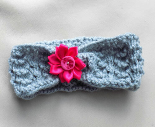Handcrafted in Wales Baby knitted headband choice of pretty shades