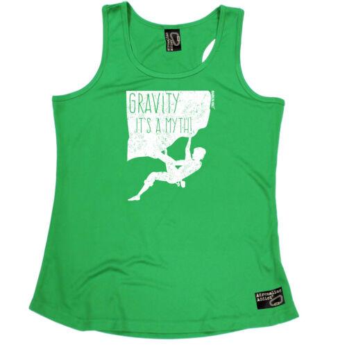 Gravity Is A Myth Rock Climbing Vest Funny Womens Sports Performance Singlet