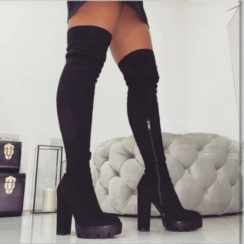 Damen Stiefel Reißverschluss Schenkelhohe Overknee Blockabsatz Rund Gothic 36-41