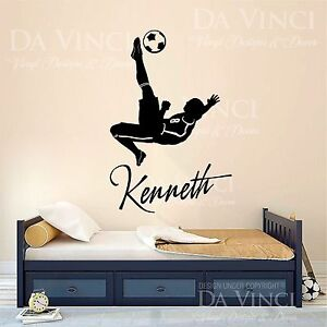 soccer player decal custom name wall room personalized