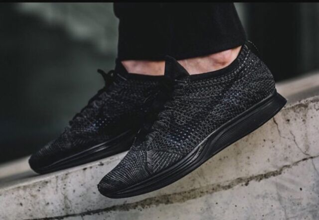 reputable site 8188e 2a4f3 Nike Flyknit Racer Womens Size 8 Running Shoe Black Anthracite 526628 009