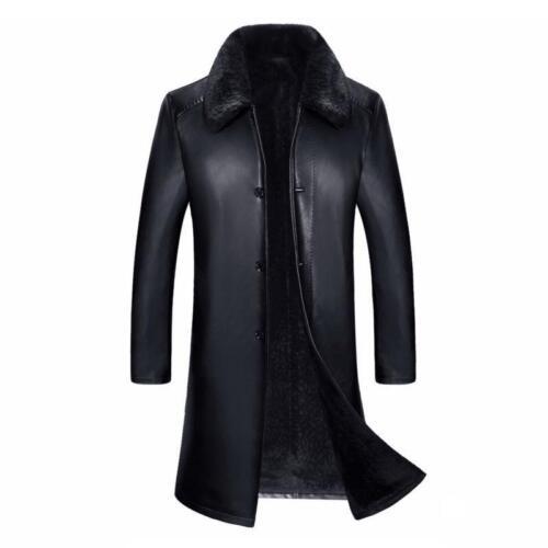 Homme Longue Business revers cuir véritable manteau de fourrure Trench Parka Hiver Vestes Ske15