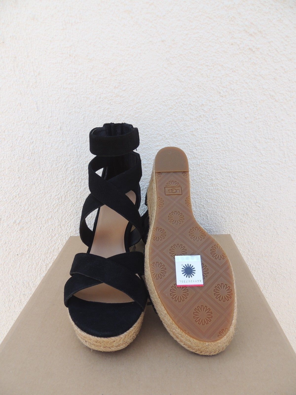 82cdd689462 UGG Raquel Black Suede Strappy Platform Wedge HEELS US 9/ EUR 40