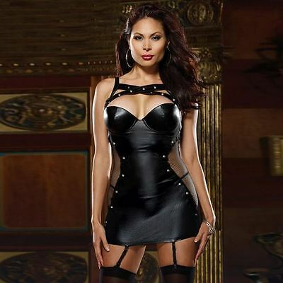 Dress Women's Black Faux Leather Role Play Dominatrix Plus Size XL XXL XXXL New