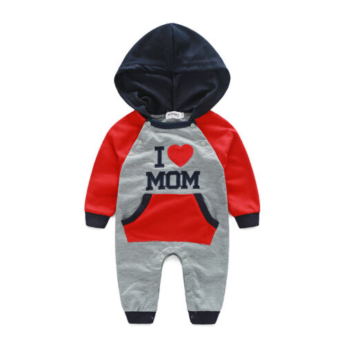 Baby Strampler Jungen Mädchen Schlafanzug Baumwolle Overalls Kapuze Spielanzug