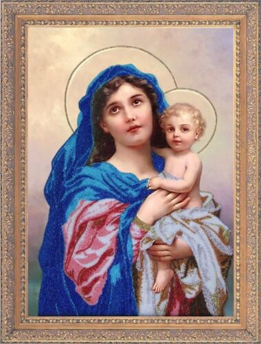 Madonna and Child religious picture icon beaded embroidery DIY kit
