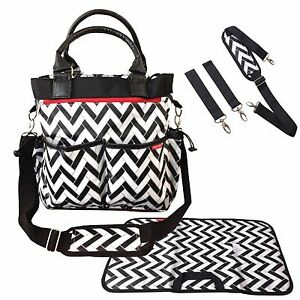 3a9025eb3d3b Details about BABY CHANGING BAG DIAPER TOTE NAPPY BAG 5 PIECE SET STYLISH  ZIGZAG DESIGN