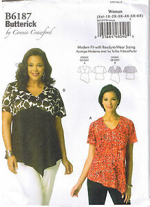 Easy Button Up Down Shirt Collar Connie Crawford Butterick Sewing Pattern XXL-6X