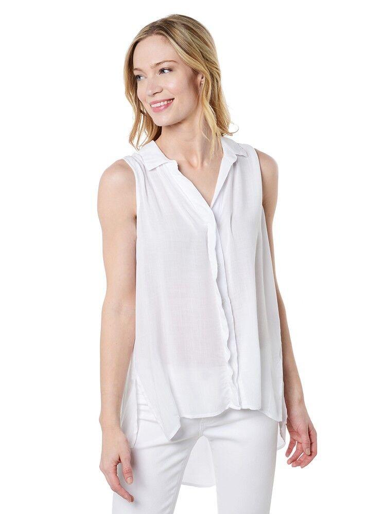 Nuovo Cloth & Stone Donna le Misure Crosshatch senza Maniche Piegato Yoke
