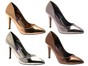 Womens-Metallic-Pointed-Toe-Court-Stiletto-High-Heels-Ladies-Work-Office-Shoes