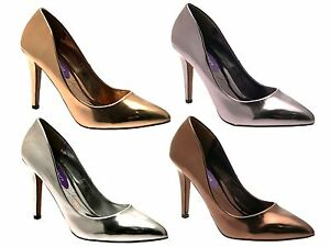 289a4c3deaeb Image is loading Womens-Metallic-Pointed-Toe-Court-Stiletto-High-Heels-