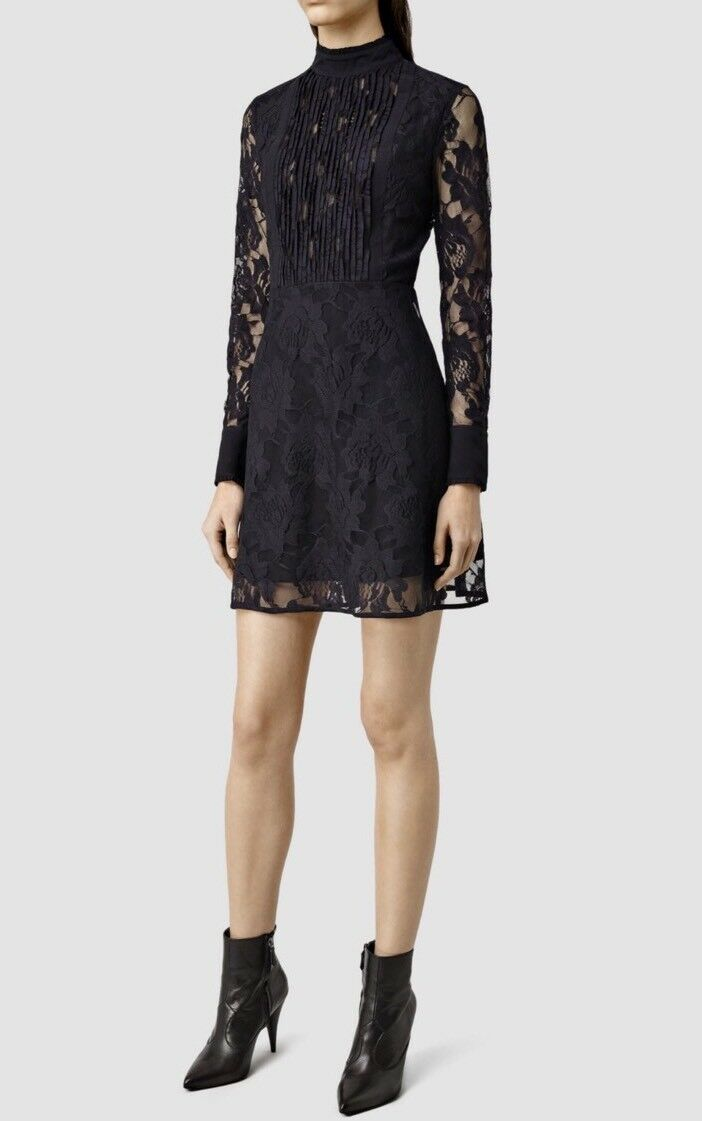 Bnwt Allsaints Marela Laced Dress. Ink Blau  4.