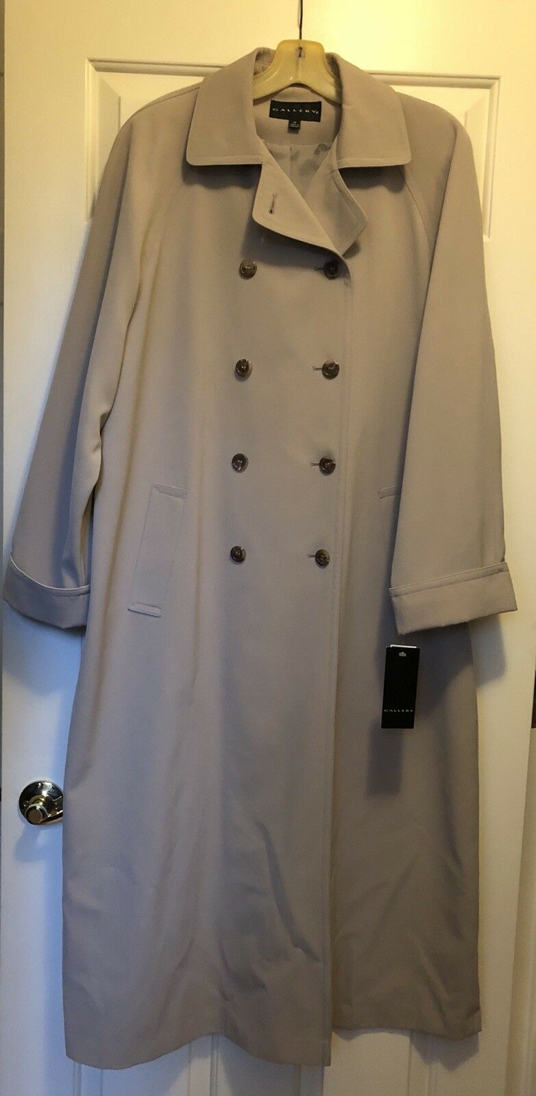 Gallery Womens Trench Coat Light Tan Orig  Size 14 NWT