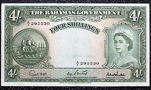 4-Shillings-Bahamas-ND-1953-P13c-GVF-British-Commonwealth