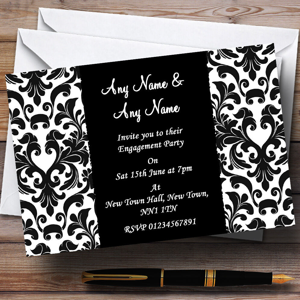 Noir & Rose & Noir damas blanc Fiançailles invitations personnalisées ac7333