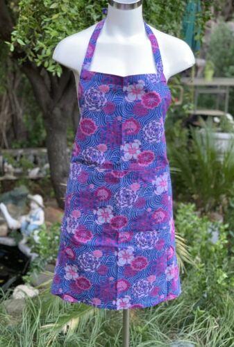 Boho Koya Purple Pink Blue Floral Mandala Cotton Apron Pockets 27X30 Made India