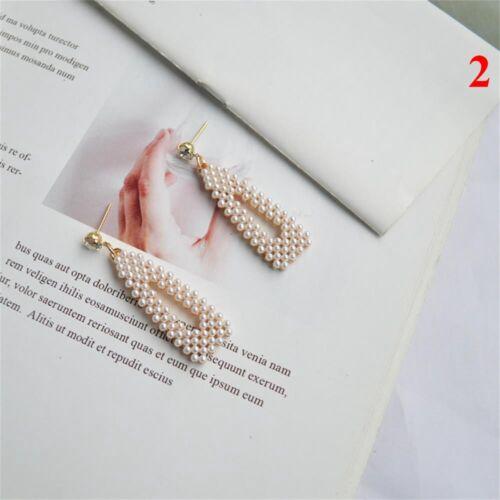 Wedding Engagement Drop Dangle Ear Stud Geometry Pearl Earrings Round Square