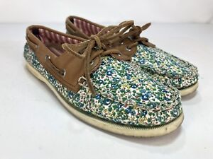 f548a8e27a394 Details about Sperry Top Sider Women's 7 Floral Flower Pattern Flat Boat  Shoe Blue Green