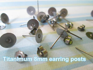 Image Is Loading Anium Nickel Free 8mm Flat Pad Earring Posts