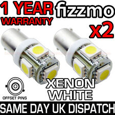 2x 5 SMD LED 6000k XENON WHITE BULB 433c 434 H6W BAX9S CAP OFFSET PIN 360 DEG UK