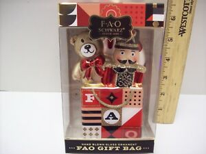 TOY SOLDIER /& BEAR IN BAG FAO SCHWARZ HAND BLOWN GLASS CHRISTMAS ORNAMENT