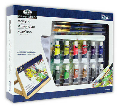 22 PIECE ARTIST ACRYLIC PAINTING & WOODEN EASEL SET WITH BRUSHES & PAD REA5604