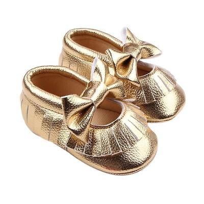 Toddler Girl Crib Shoes Newborn Baby Bowknot Soft Sole Prewalker Sneakers 0-18M