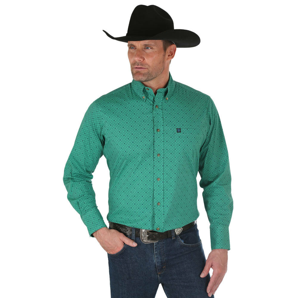 MWP104M Wrangler Men's L S Performance Buttondown Western Shirt Green Print NEW