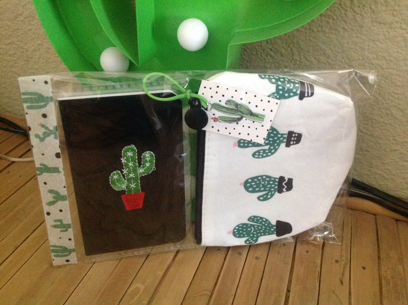 Kitsch🌵Cactus Faux Leather Notebook +lined Canvas Purse Green Black 2Pc Set