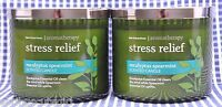 2 Bath Body Works Stress Relief Eucalyptus Spearmint Aromatherapy 3-wick Candle