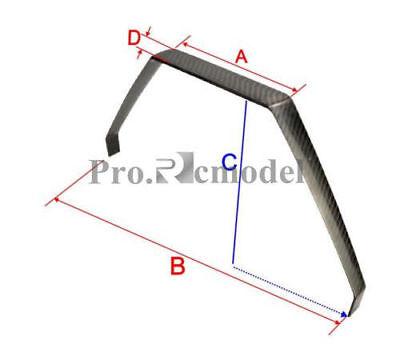 Carbon Fiber Landing Gear Extra 260# 50CC RC Airplane A=195 B=495 C=240 D=40mm