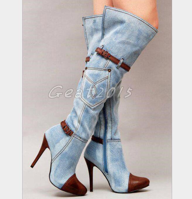 Denim Jeans Stiefel Damenschuhe Europa Kniehohe Stiefel Jeans Denim Stiefel High Heels Gr34-46 e22803