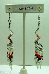 New-Dangle-RED-SPIRAL-EARRINGS-Native-Southwest-style-UNIQUE-KEWL-GIFT-NIB